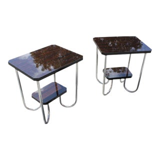 Beautiful Pair Of French Art Deco Exotic Macassar Ebony End Tables Circa 1940s.