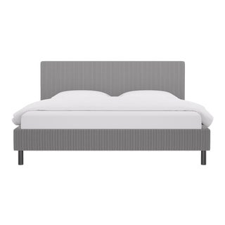 King Tailored Platform Bed in Black Ticking Stripe For Sale