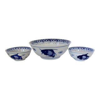 Porcelain Bowls W/ Koi, Set of 3 For Sale