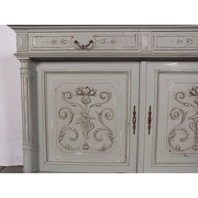 19th C. French Vintage Gray Credenza - Image 8 of 11
