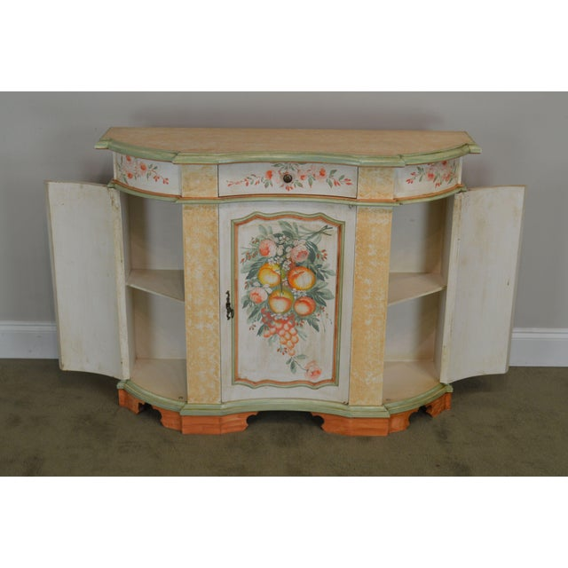 Italian Hand Painted Narrow Serpentine Console Cabinet For Sale - Image 11 of 13