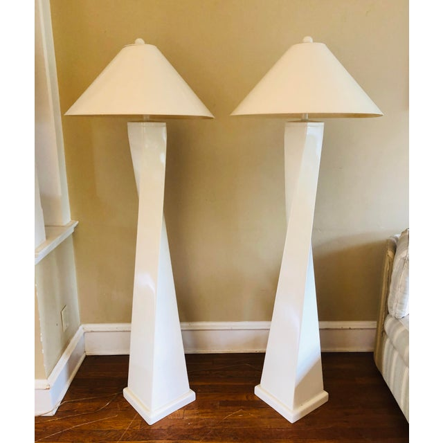 """Interesting """"twisted"""" Post-mod floor lamps by Tyndale Lighting, a division of Frederick Cooper. Original shades will be..."""