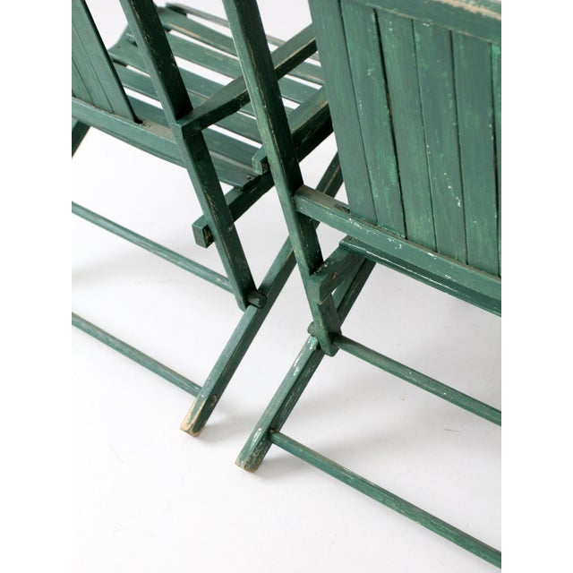 Vintage Wood Folding Chairs in Emerald - A Pair For Sale - Image 6 of 8