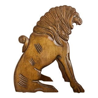 Edwardian Hand Carved Walnut Wood Lion Library Steps