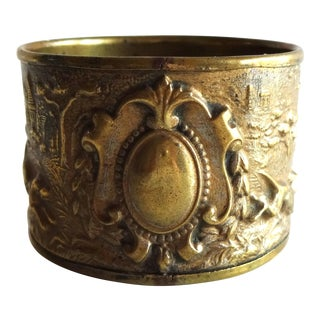 Late 19th Century Antique French Rococo Louis XVI Repoussé Brass Napkin Ring With Hunting Scene For Sale