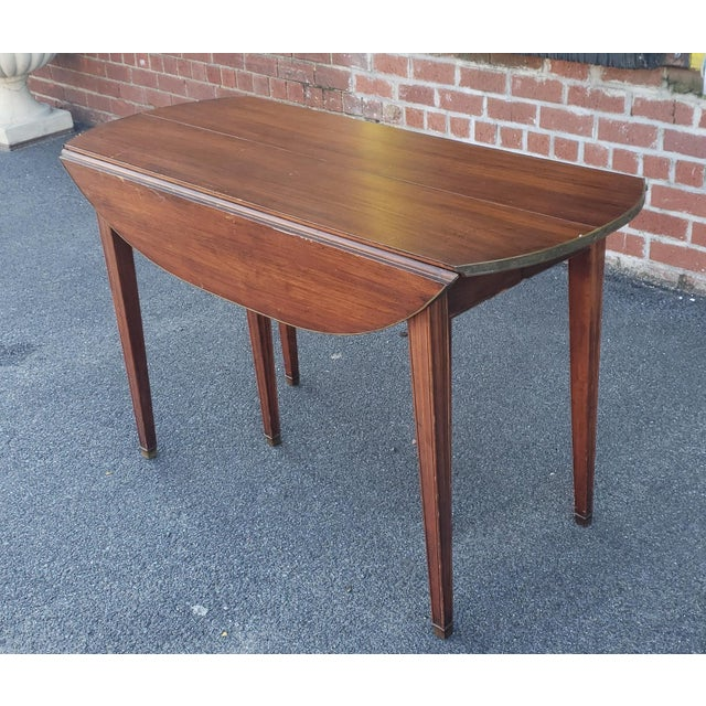 20th Century Mahogany Regency Style Brass Edge Drop Leaf Dining Room Table W/ 4 Leaves C1950 For Sale - Image 13 of 13