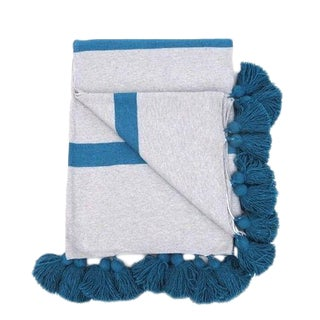 Moroccan Gray and Turquoise Handwoven Cotton Pom Blanket For Sale