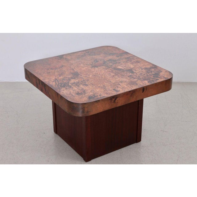 Bernhard Rohne Rare Copper and Mahogany Coffee or Side Table by Bernhard Rohne For Sale - Image 4 of 4