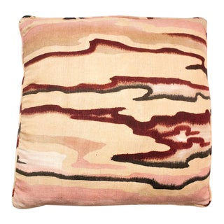 Vintage Pink Raw Silk Marbled Pillow For Sale