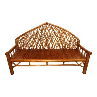 Andirondak Style Bamboo Bench Settee For Sale
