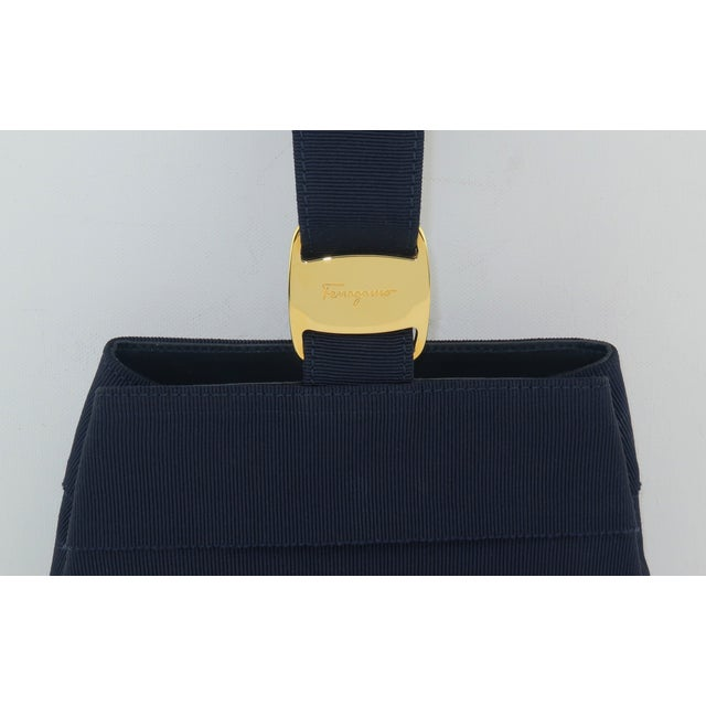 Salvatore Ferragamo Ferragamo Blue Grosgrain Tiered Wristlet Handbag For Sale - Image 4 of 13