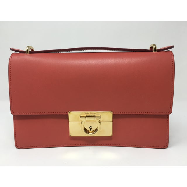 Red Beautiful Rouge Box Leather Salvatore Ferragamo Top Handle or Cross Body Bag For Sale - Image 8 of 12