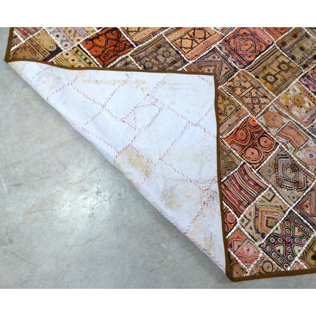 Red Antique Indian Wedding Saree Quilt For Sale - Image 8 of 9