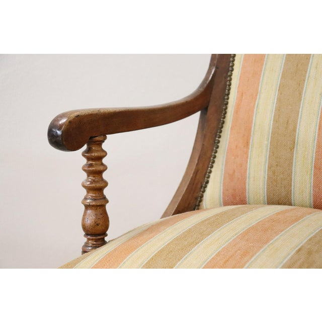 Empire 19th Century Italian Empire Walnut Armchair, Legs in Turned Walnut For Sale - Image 3 of 10