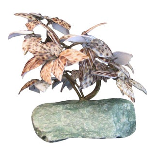 Bonsai Tree Sculpture Shell Leaves on Raw Marble For Sale