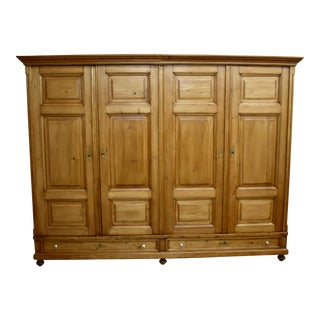 Pine Four Door Knock-Down Armoire For Sale
