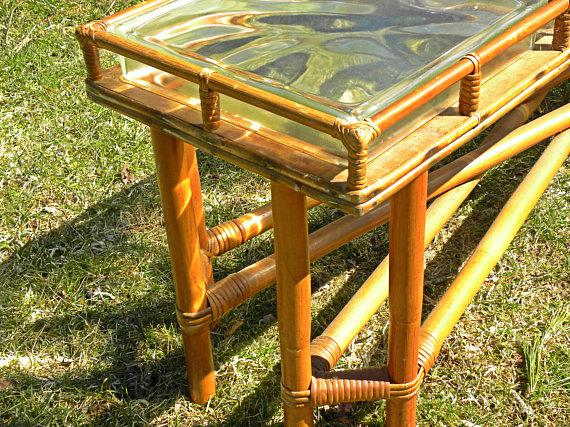 Superbe Mid Century Bamboo U0026 Glass Block Coffee Table For Sale   Image 4 ...