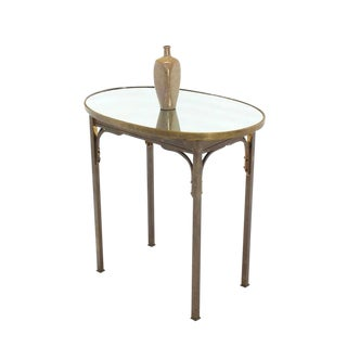 Solid Brass Mirror Top Oval Hall or Side Table For Sale