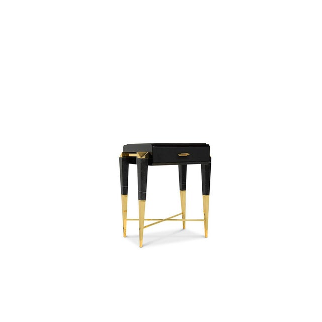 Inspired by Ancient Rome, the Spear Side Table features a timeless design on which sleek gold plated lines support a...