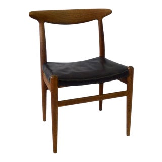 Hans Wegner C.M. Madsen Black Leather Seat Teak Dining or Desk Chair For Sale
