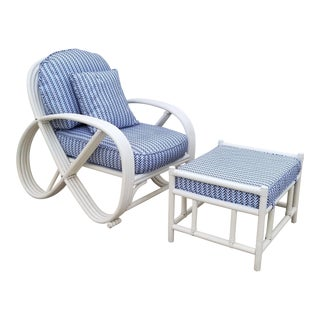 1970s Vintage Paul Frankl Style Pretzel Rattan Chair & Ottoman For Sale