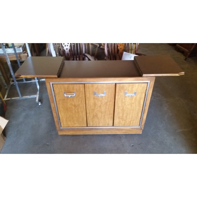 Mid-Century Modern Credenza Flip Top Burl Style For Sale In Cleveland - Image 6 of 10
