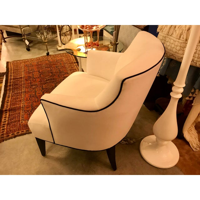 Custom-Made Classic Modern Lined Armchair For Sale - Image 4 of 8