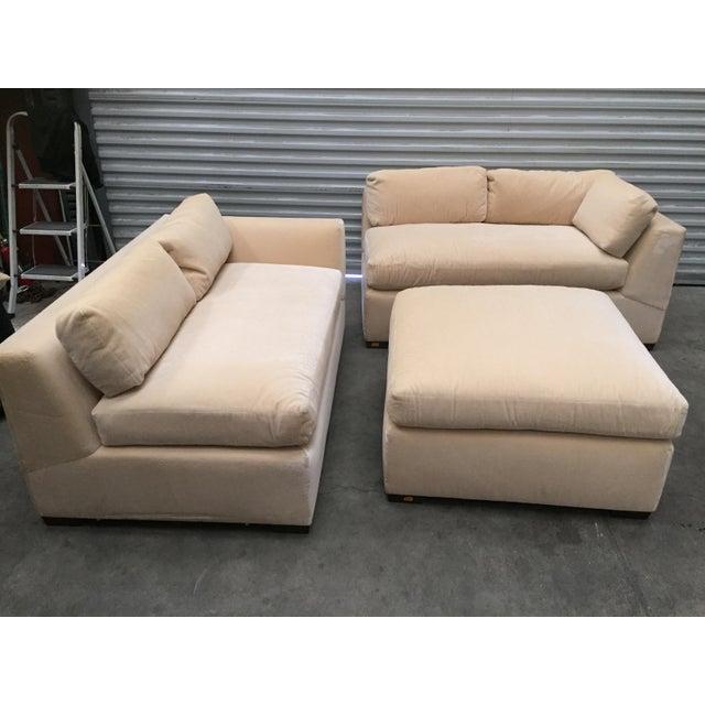 Tremendous Custom Mohair Sectional Sofa Ottoman Ibusinesslaw Wood Chair Design Ideas Ibusinesslaworg