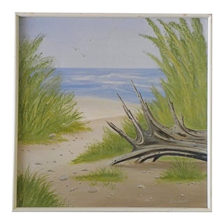 Vintage Mid-Century Signed Original Beach Oil Painting For Sale
