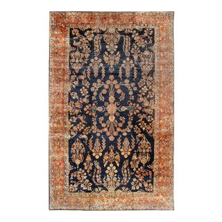 Antique Navy Blue Persain Hand Knotted Sarouk Mahajeran Rug- 11' X 19' For Sale
