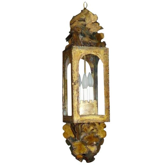 Vintage Tom Greene Mid-Century Brass Pendant Light For Sale