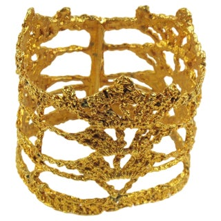 Oversized Christian Lacroix Paris Gold Plate Knitting See Thru Bangle Bracelet For Sale