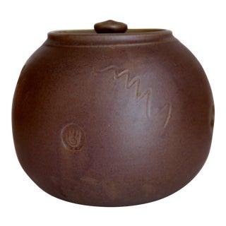 Vintage Stoneware Matte Glaze Round Lidded Jar Vessel For Sale