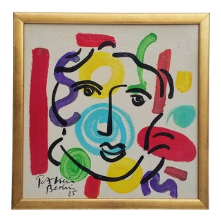 1980s Vintage Berlin Studio Multicolored Painting by Piter Keil For Sale