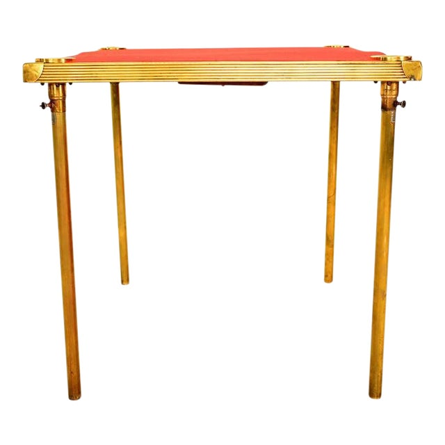French Brass Game Table With Red Cloth For Sale