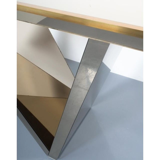 Artisan Zigzag Mirror Brass Console Table Italy, Circa 1970 For Sale - Image 11 of 13
