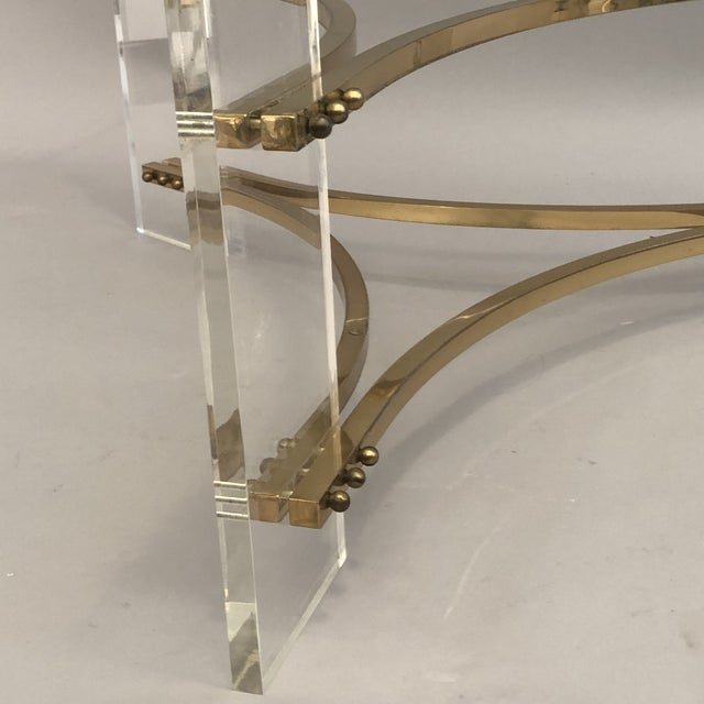 Hollywood Regency Charles Hollis Jones Brass, Glass, and Lucite Coffee Table For Sale - Image 3 of 10