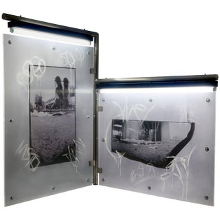 """Large Urban Art Sculpture With Photo Transparency and Lucite """"Diptych 2"""" For Sale"""