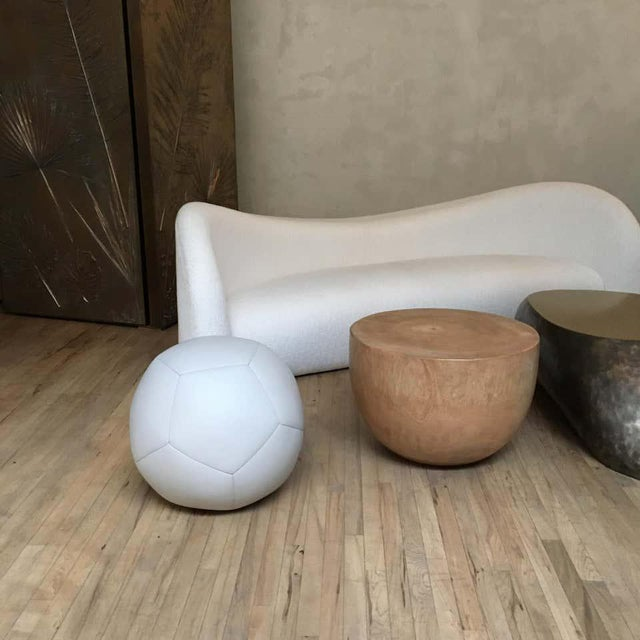 Not Yet Made - Made To Order Ball Ottoman in Greige Leather by Moses Nadel For Sale - Image 5 of 6