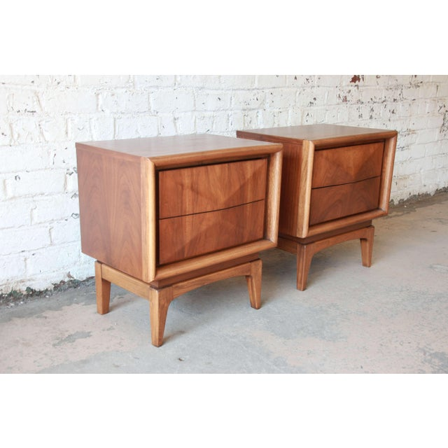 Mid-Century Modern Diamond Front Nightstands by United - A Pair For Sale - Image 10 of 10