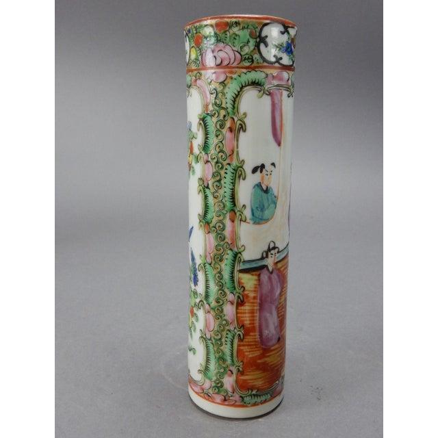 Antique Chinese Export Rose Medallion Cylinder Vase - Image 5 of 11