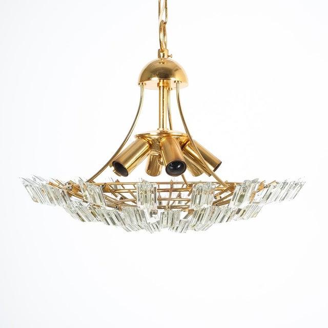 Italian Stilkrone crystal glass and gilded brass flush mount. Gorgeous Italian crystal flush mount, 17 inches in diameter,...