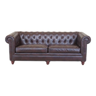 Chesterfield Style Tufted Brown Leather Sofa For Sale