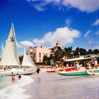 1960s Vintage Hawaii Waikiki Beach Royal Hawaiian Hotel Photograph For Sale