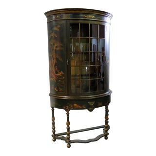 Green Chinese Chinoiserie Paint Decorated Demilune China Cabinet Vitrine For Sale