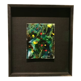 "Contemporary Abstract Framed Enamel on Copper Painting ""Untitled VII"" by Ming Chiao Kuo For Sale"