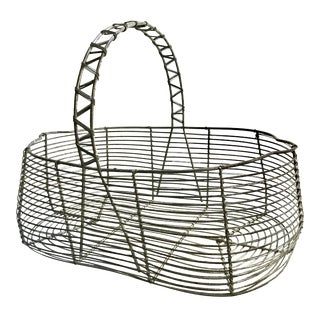 Early 1900s Antique French Wire Egg Basket