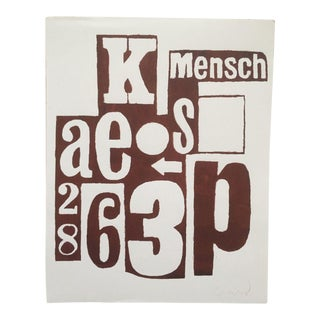 "Original Signed Dada "" Mensch "" ( a Good Man ) Typography Art Print For Sale"