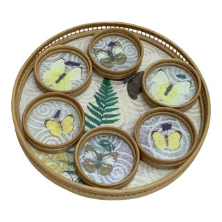 Midcentury Bamboo Butterfly Tray & Coasters Set of 7 For Sale