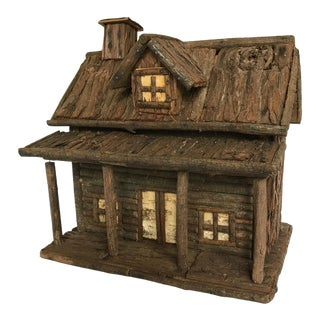 1930s Antique Log Cabin Bird House For Sale
